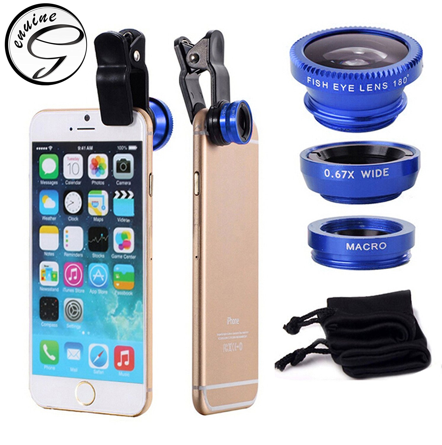 New Version Genuine Blue Universal Clip-on 180 degree 3 in 1 Fisheye+Wide Angle+Macro Phone Camera Lens Kit for iPhone 5/5S/4/4S/6/6 Plus Samsung Galaxy S5/S4/S3 Note 4/3/2 G386 HTC Blackberry Bold Touch, Sony Xperia, Motorola Droid