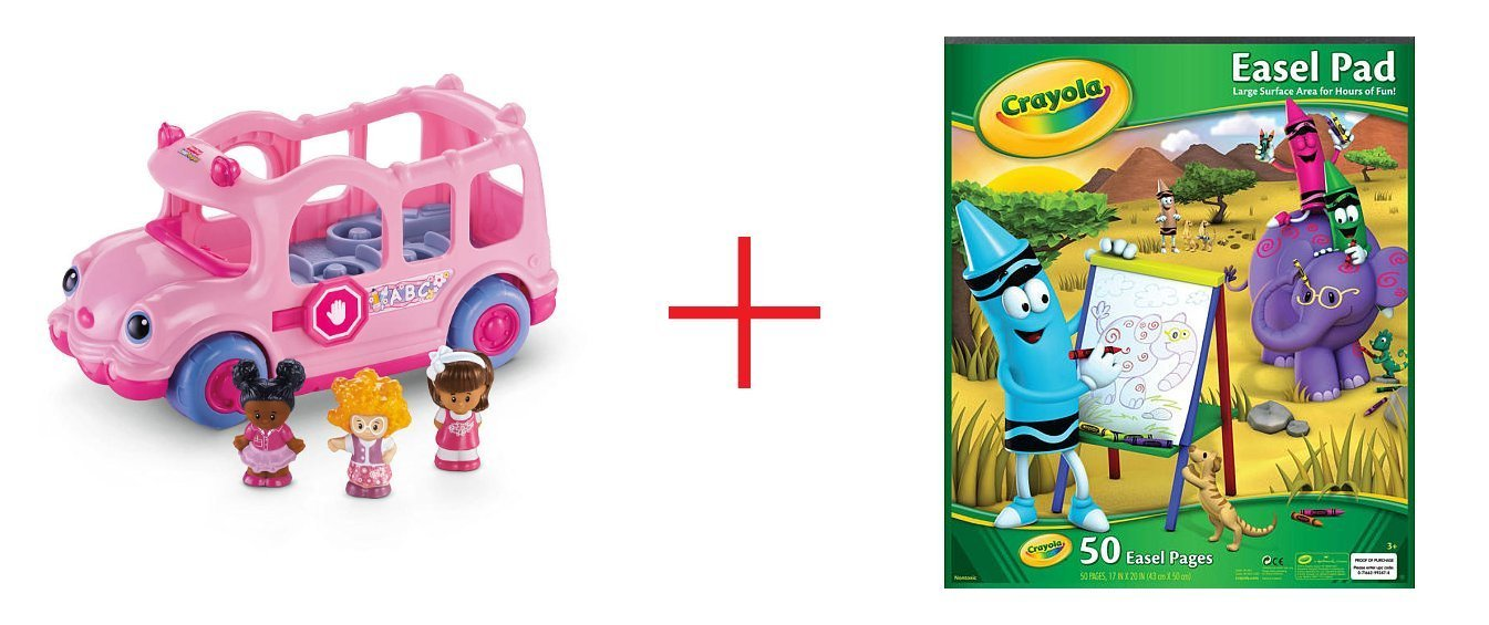 Fisher-Price Little People Lil' Movers School Bus and Crayola Easel Pad - Bundle