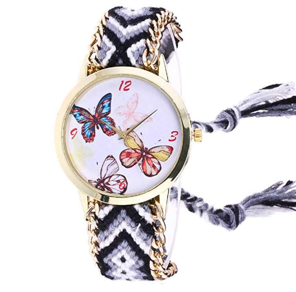 Clearance Sale! Womens Watches,ICHQ Womens Butterfly Watches Clearance Ladies Watches Female Watches on Sale Knitted Cheap Watches (Gray)