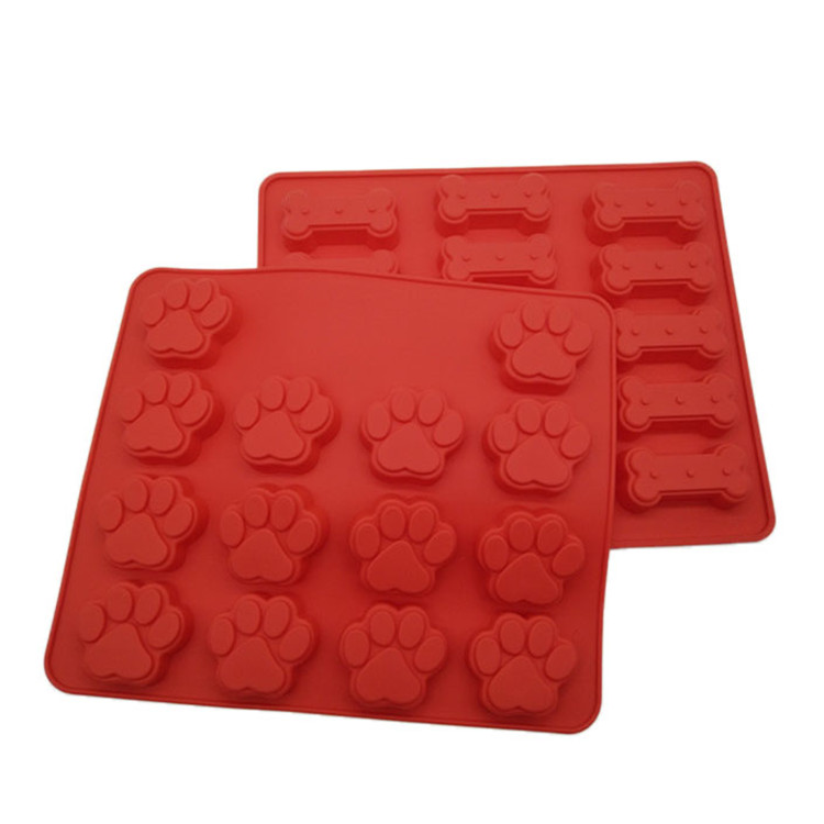 Food Grade Silicone Dog Paw and Bone Mold,2 Pack Pet Treat Cookie Cutter Muffin Baking Tray