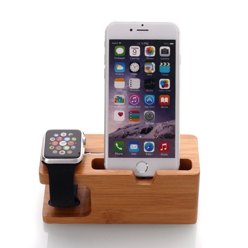 Apple Watch Stand, oneCase™ Apple Watch Bamboo Wood Charging Stand Bracket Docking Station Stock Cradle Holder for Both 38mm and 42mm Apple Watch and iPhone 6 / iPhone 6 Plus (Bamboo Wood)