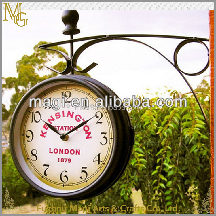 Popular European style vintage round Double Sided cheap wall clock price