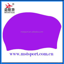 customize long hair silicone swim caps for women