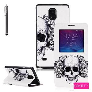 Galaxy Note 4 Case, OMIU(TM) [Skull Pattern] Bran-new Fashion Colored Drawing Design Premium PU Leather Window View Design Slim Flip Case Cover Protector Fit For Samsung Galaxy Note 4, Sent Stylus