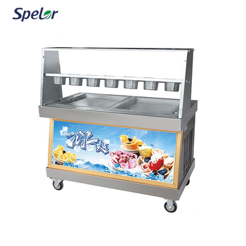 2 Square Pan PP Plastic Inner Box Thailand Fry Ice Cream Machine For Sale