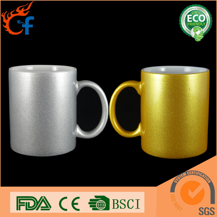 Gold silver white decal 11oz porcelain coffee sublimation mug and ceramic coffee sublimation mug