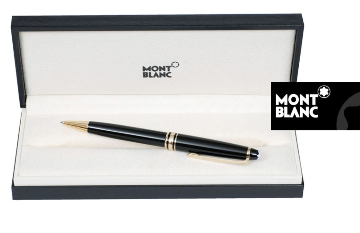 Meisterstuck Black Ballpoint Pen 164 Gold Plated