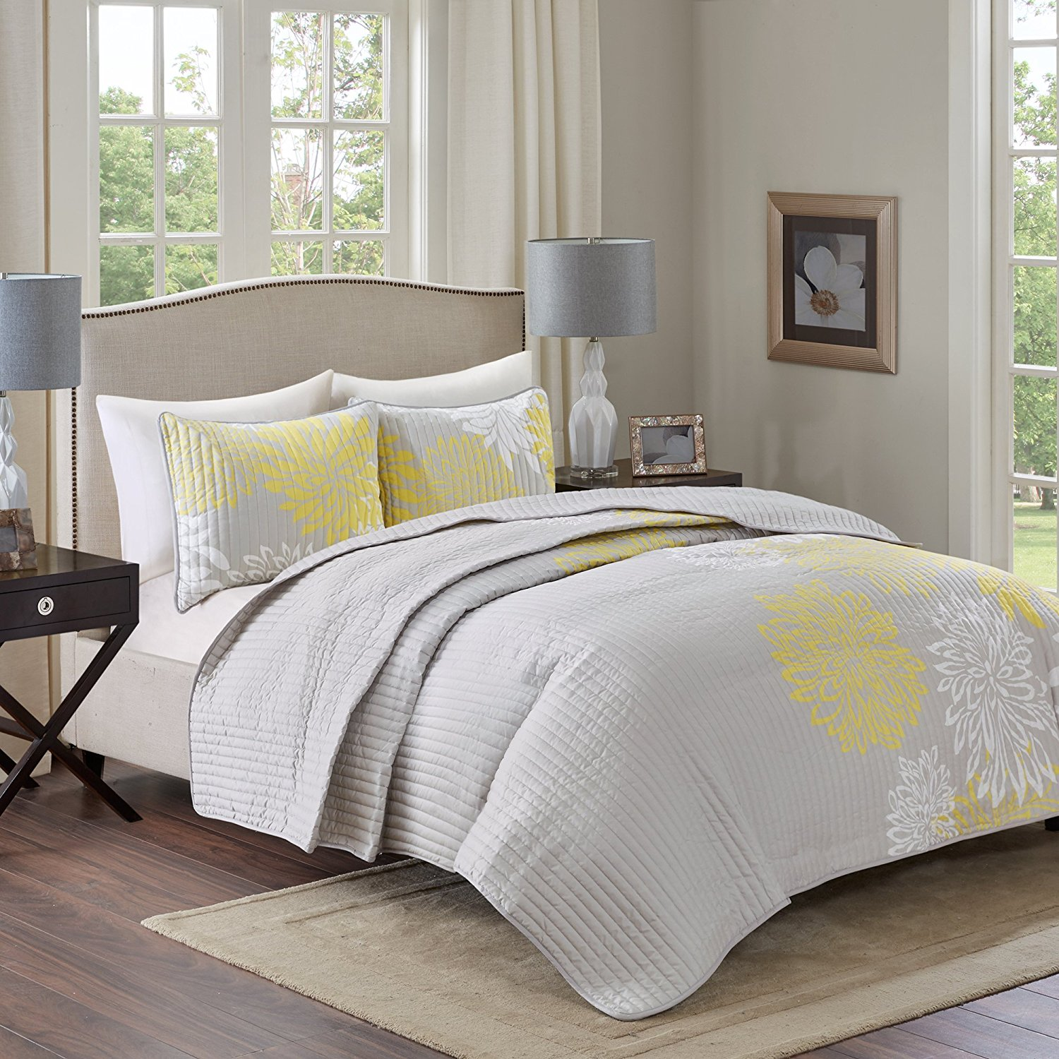 Comfort Spaces – Enya Quilt Mini Set - 3 Piece – Yellow and Grey – Floral Printed Pattern – Full/Queen Size, Includes 1 Quilt, 2 Shams