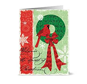 Spirit of Christmas - 36 Holiday Cards - Blank Cards - Red Envelopes Included