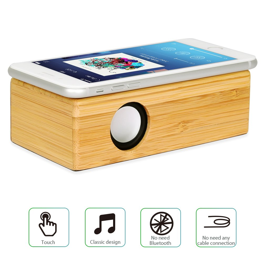 Get Quotations · Wireless Touch Speaker - Compatible With All devices That  Has An External Speaker Wooden Mini Portable 62948ce4df5ea