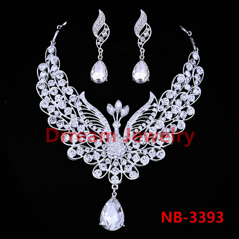 Luxurious Austrian Crystal Bridal Peacock Accessories Necklace Earrings Wedding Jewelry Sets