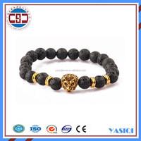 2016 New Arrival Jewellery Top Selling Luxury Fashion Bangle Bracelet Beadlion Head Wrist Beads Bracelet for Women and Men