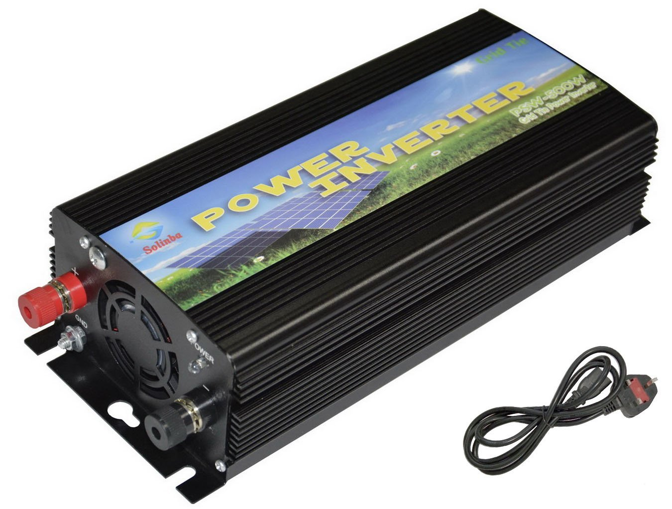 Solinba Grid Tie Power Inverter 500w, Converter, MPPT, for Solar Panel, Black, UK, DC11v-28v to AC 220v