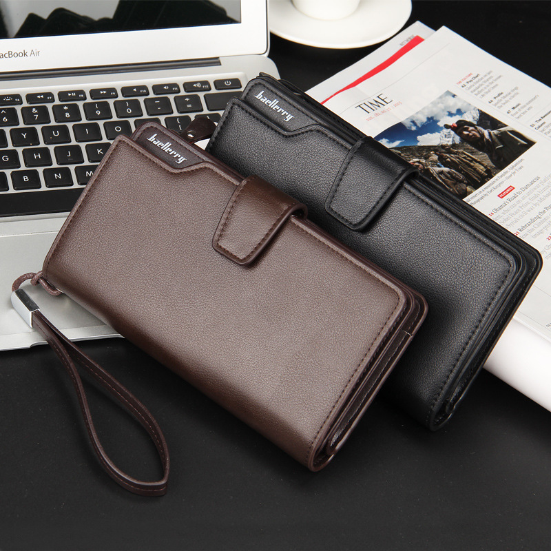 Factory wholesale Big capacity baellerry fashion men's casual long section clutch <strong>wallet</strong> folded multifunctional phone handbag