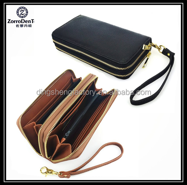 Factory Wholesale Large Capacity Double Zip Around Leather Wallet Purse