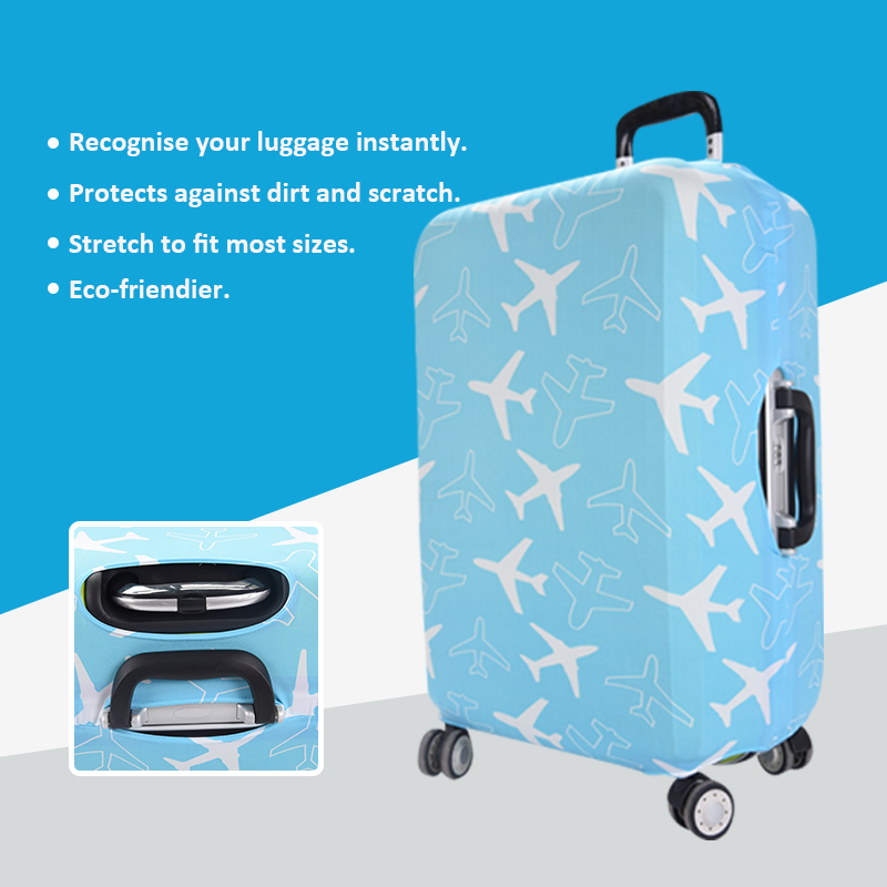 2016 Most Popular Plane Printing High Elasticity Spandex Protective Luggage Cover, Mating Travel Neck Pillow For Travelling