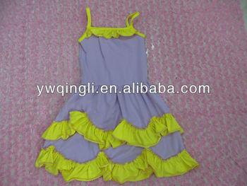 f4577d0d3eb1 Designer Kids Summer Dresses Baby Light Purple Sleeveless Cotton Dresses  With Yellow Ruffle for Little Girls