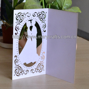 Romantic Wedding Invitation Laser Cut Wedding Bride And Groom