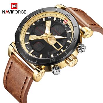 f0960ba0ae9 NAVIFORCE Homens Relógio Digital Esporte Mens Relógios Top Marca de Luxo  Pulseira de Couro militar Do