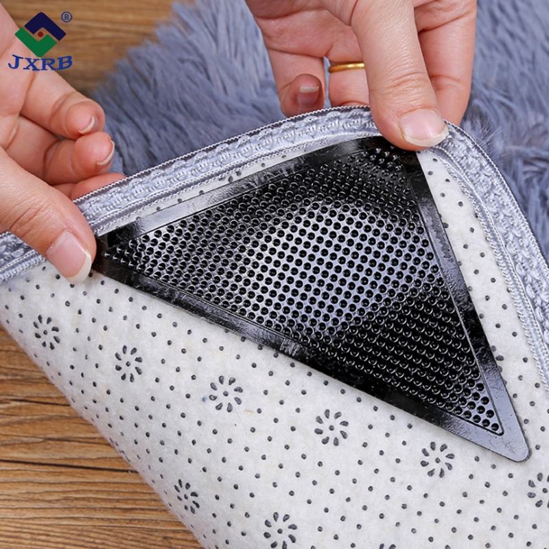 11*15cm Rug Carpets Grippers Reusable Washable Non Slip Grip Corners Pad Black