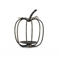 Hot Sales Handmade Wrought Iron Metal Art Retro Black Hollow-out Pumpkin Style Candle Holder Iron Art Tabletop Decor
