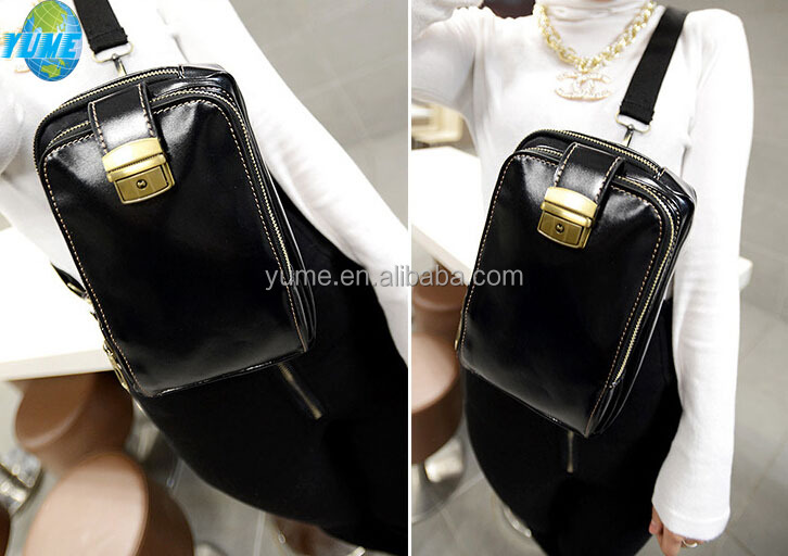 Hot selling Korean style PU black shoulder bag for <strong>school</strong> girls