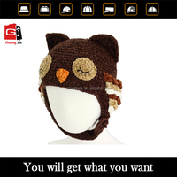 Customized promotional knitted fashion baby crochet hat, earflap crochet hat