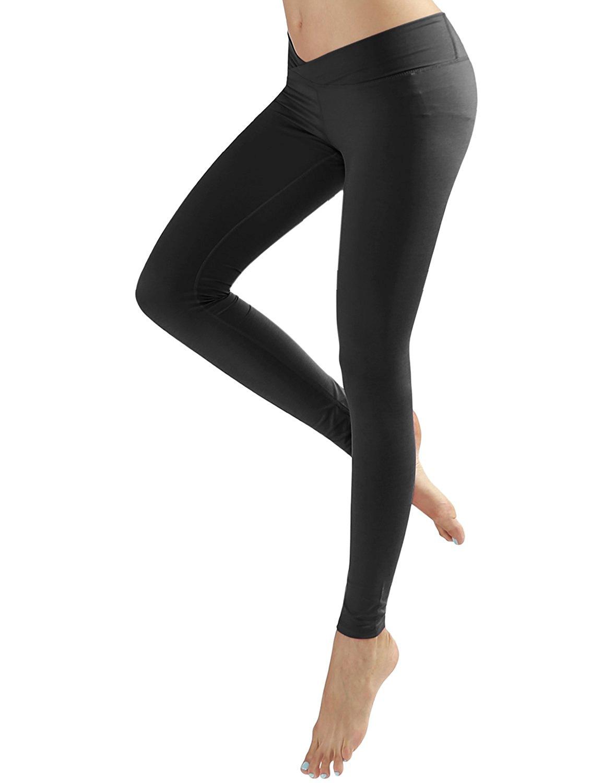 631a515e19ab9 Yoga Reflex Women's V-cut Waist Workout Running Yoga Leggings Pants (XS-2XL