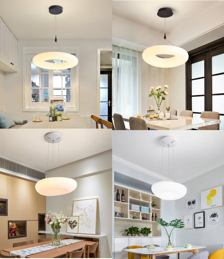 Home loft 220-240V  bar cafe PE material living room square round kitchen modern led luxury lamp pendant circular
