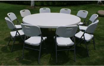 10 Seaters 6ft 180cm Round Plastic Folding Round Dining Table For