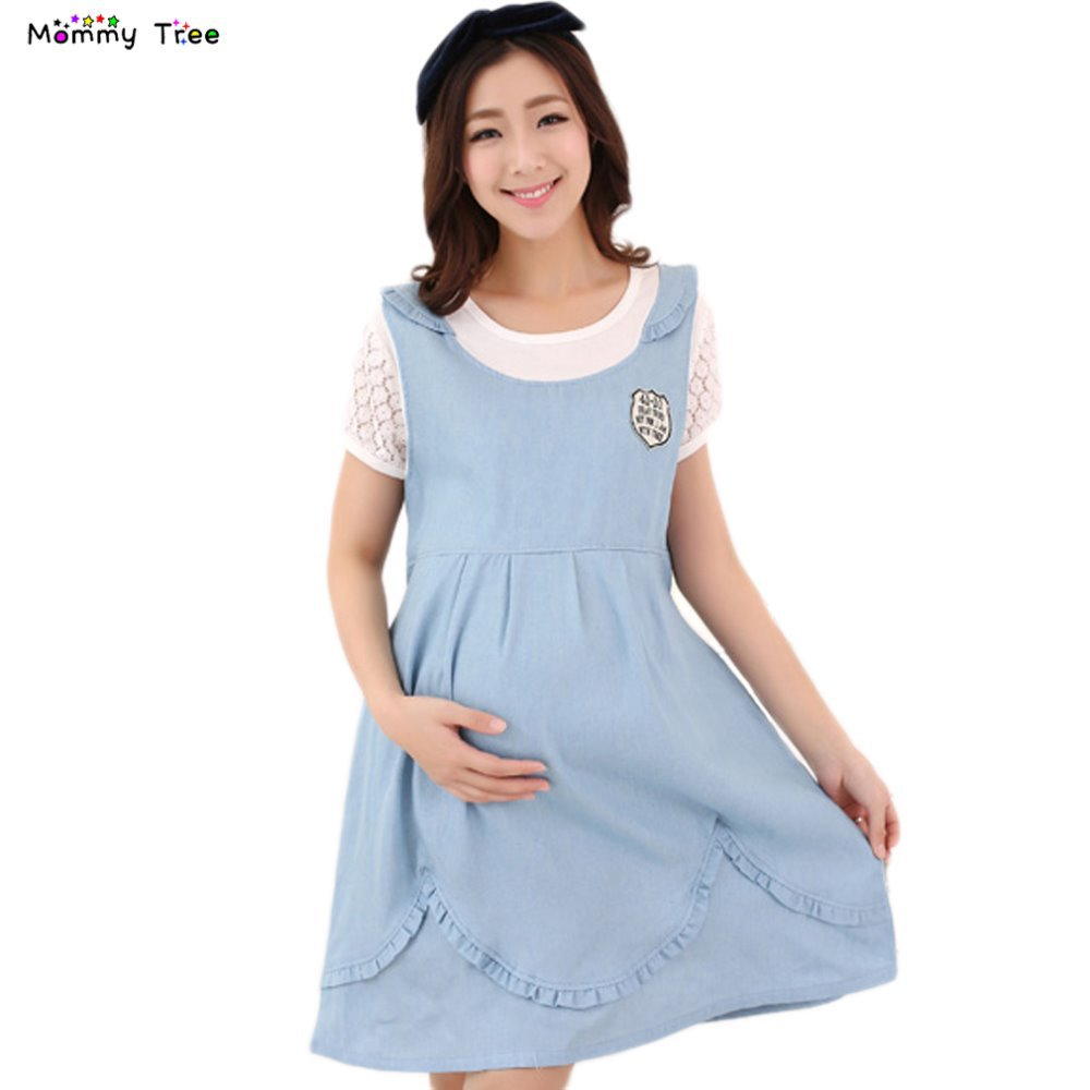Get Quotations · Fashion Denim Cotton Lace Patchwork Maternity Dresses for Pregnant  Women Pregnancy Dress False Two Pieces Maternity 7c2713d9b00f