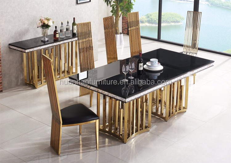 DH-1454 Wholesale stainless steel restaurant furniture 12 chairs dining table set