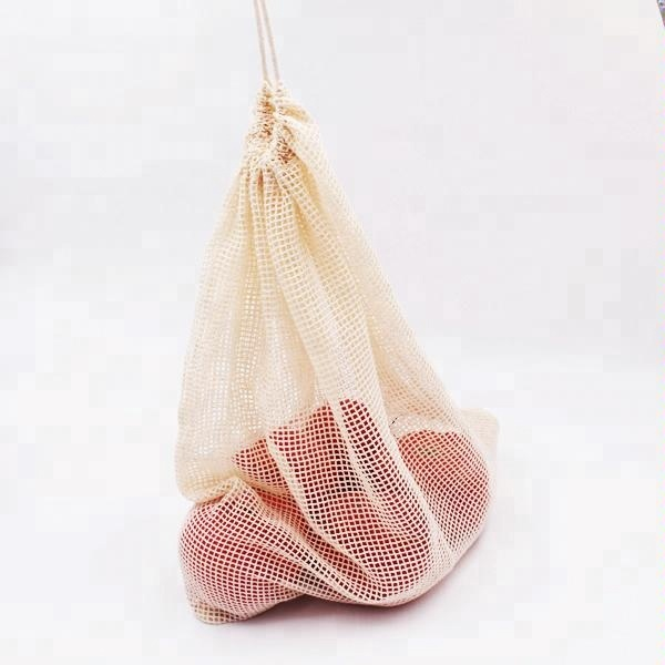 BOSI Sturdy reusable cotton mesh net vegetable/ fruit shopping produce bags