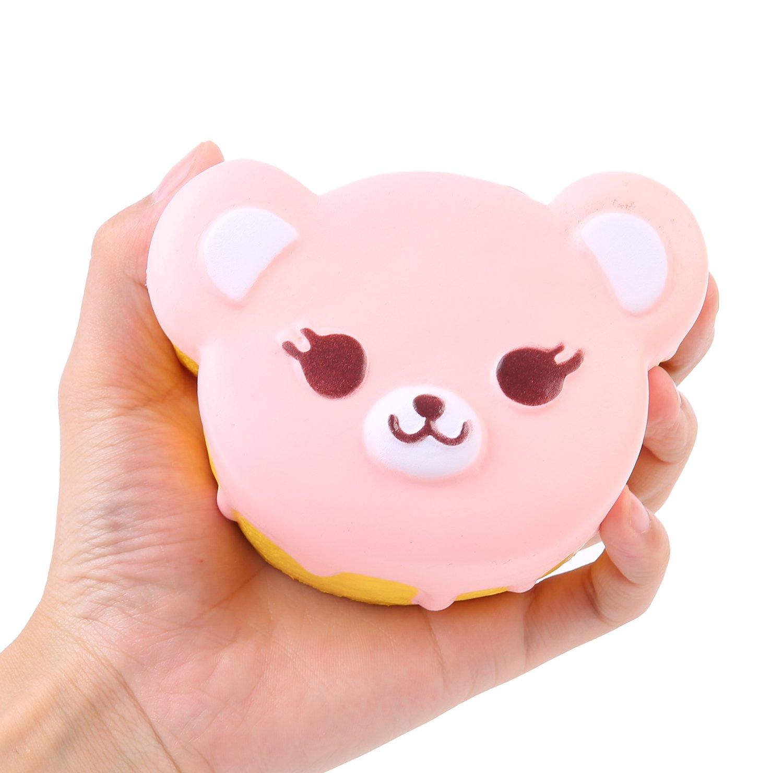 AOLIGE Jumbo Squishy Cute Bear Head Kawaii Cream Scented Very Slow Rising Decompression Squeeze Kids Simulation Toys,1PC Random