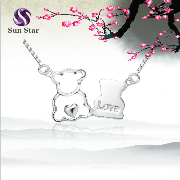 Fashion 925 sterling silver Bear LOVE Heart Set Chain Pendant