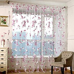 WPKIRA Window Treatments Kids Room Decor Sheer Window Curtain Rod Pocket Top Voile Panels Pair , Cartoon Bear (2 Panels , 75 wide x 84-inch length , Pink)