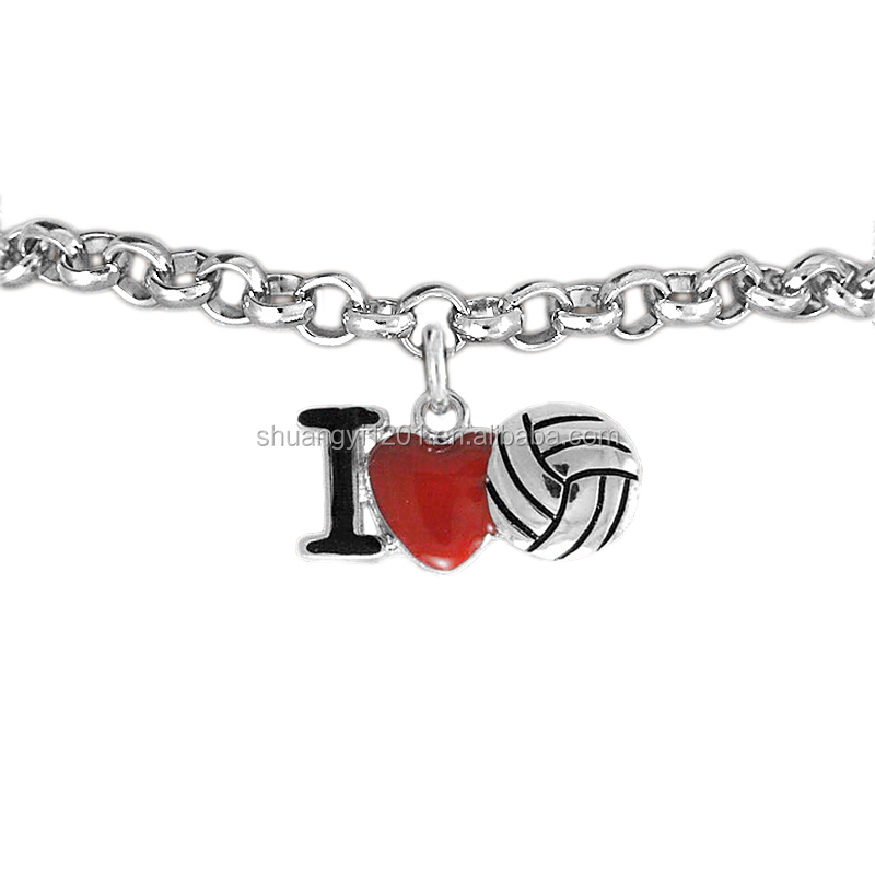 Best selling fashion enamel red and black I love volleyball pendant wholesale bracelet with different chain