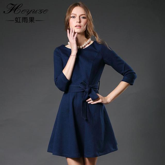 82ada3e64 vestido azul hasta la rodilla