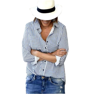 Women Blouse 2018 Summer Women Tops Sexy Casual Loose Long Sleeve Stripes Swallowtail Ladies office blouse