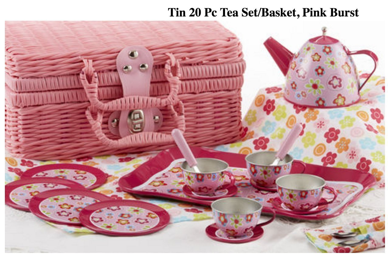 Tin Tea Set, Unbreakable Dishes, Real Pouring Teapot, Pink Wicker Basket