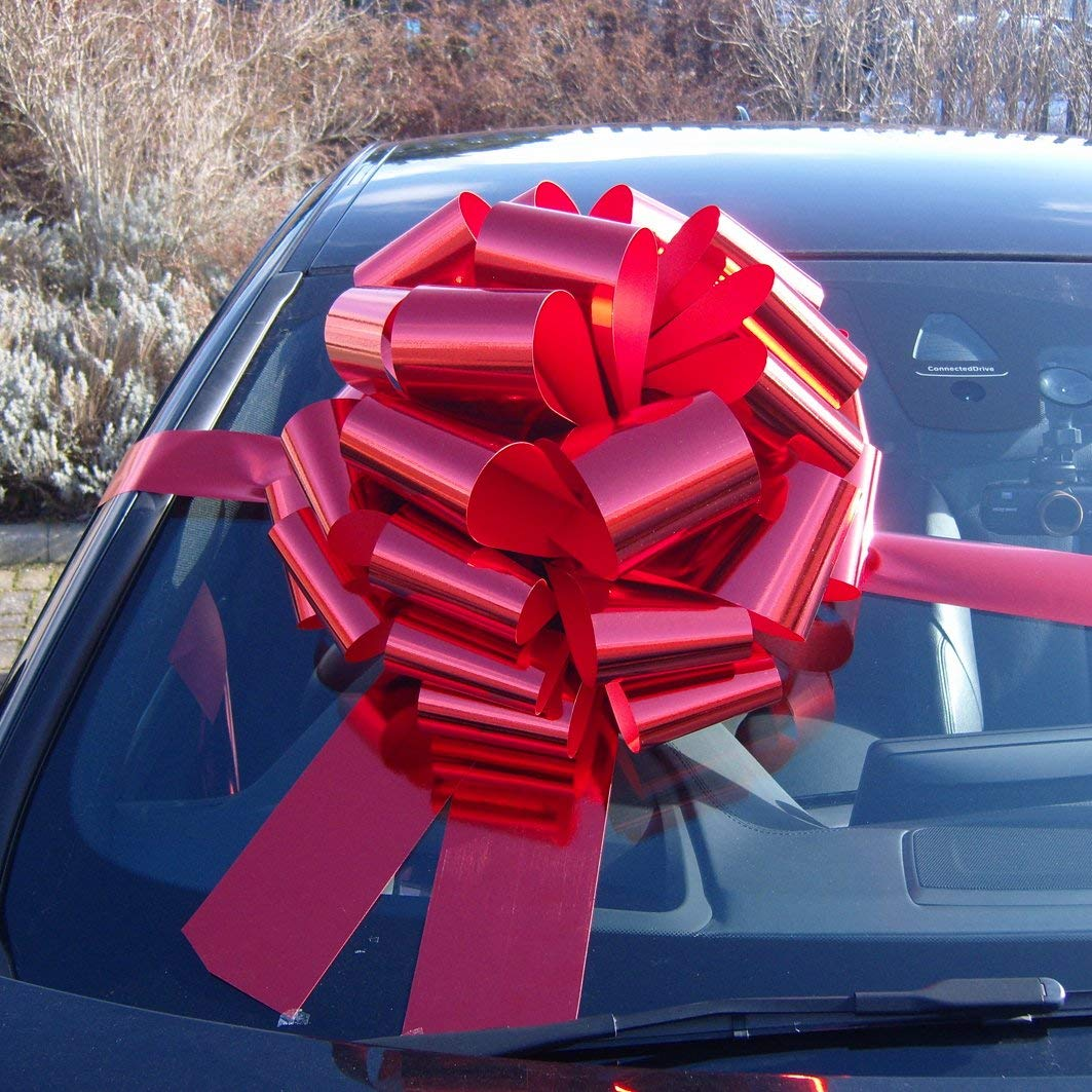 MEGA GIANT CAR BOW (16 inch) + 6 METRES of RIBBON for Cars, Bikes, Big Birthday & Christmas Gifts - METALLIC RED