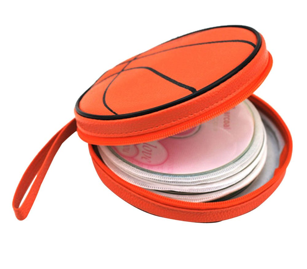 Get Quotations · niceEshop(TM) Creative Basketball Shape PU Leather CD DVD  Storage Case Bag,Orange 8212170ea0