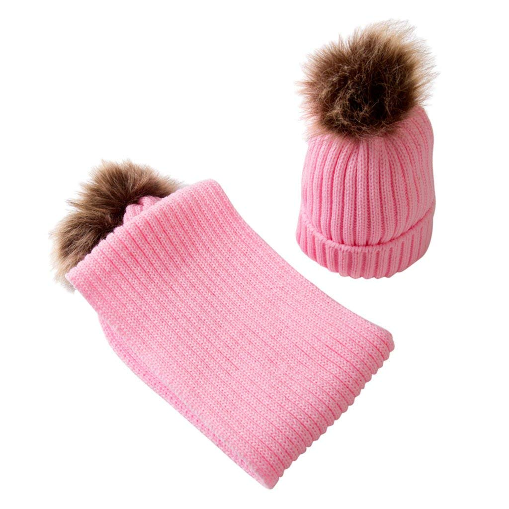 049eb3779dc Get Quotations · MagiDeal Kids Baby Boys Girls Scarf Hat Set Knitted Winter  Warm Hats Soft Beanie Cap