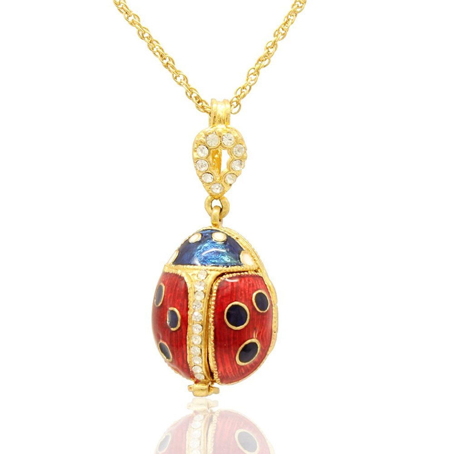 MYD Jewelry Ladybug Locket Easter Egg Faberge Egg Pendant Necklace