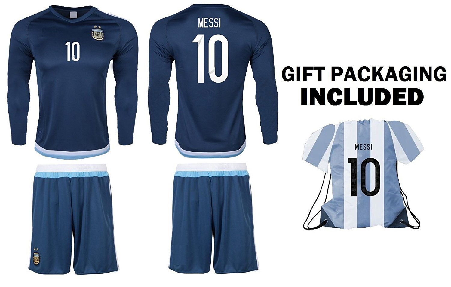 Get Quotations · JerzeHero Argentina Messi  10 Kids Youth Soccer Gift Set ✓ Soccer  Jersey ✓ Shorts ✓ da17cf4cd