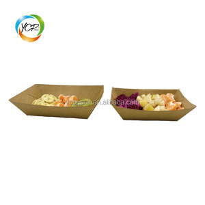 disposable kraft boat shape paper fast food packing tray