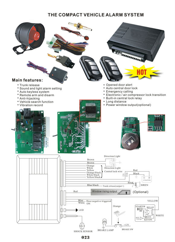hot sale l3000 auto security manual car alarm system with