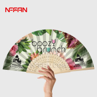 Asian Craft Paper Hand Fan with Custom Design Printed