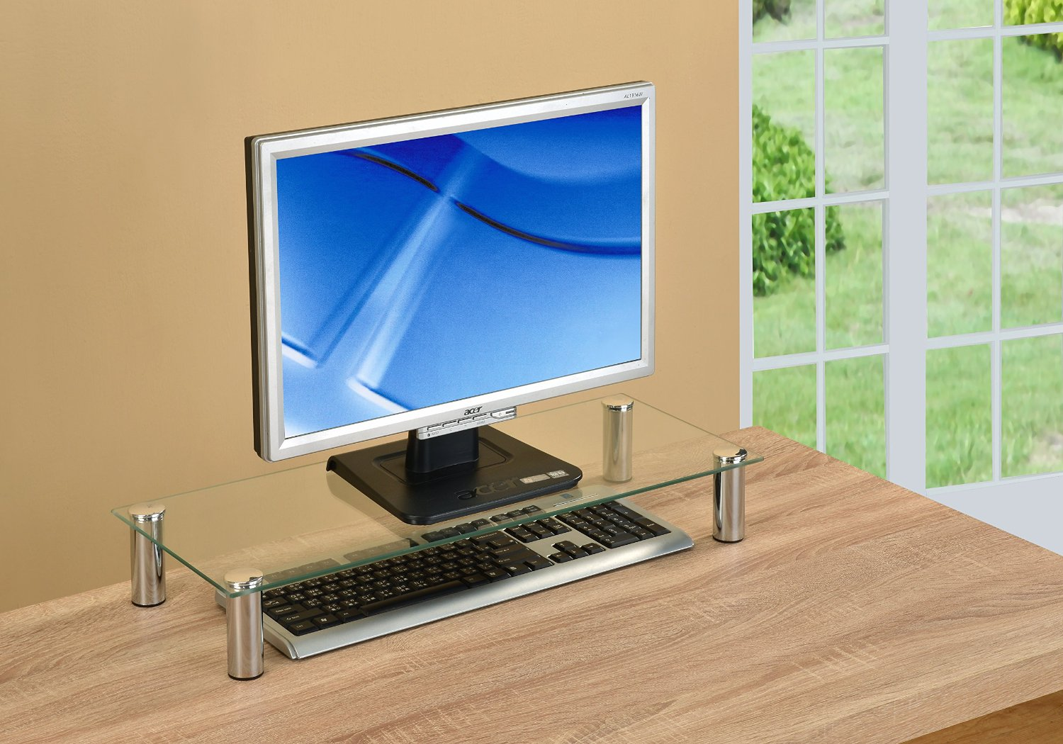 Metal Computer Monitor Riser Glass Stand, Desk Organizer, Laptop - Clear and Chrome