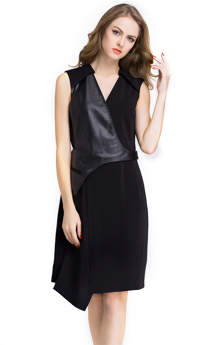 Elegant Fashion Ladies Black Genuine Leather Dress for Women